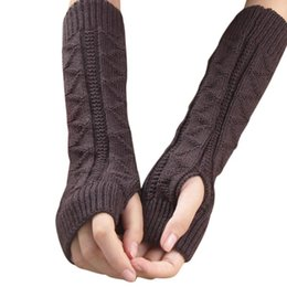 arm warmers for winter NZ - Sagace Gloves Winter Autumn Warm Gloves Woman Casual Solid Color Knitted Long Hand Arm Fingerless For Girl Guantes