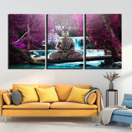 5 Panel Size L Modern Canvas Wall Art of Seat Buddha for your Living Room
