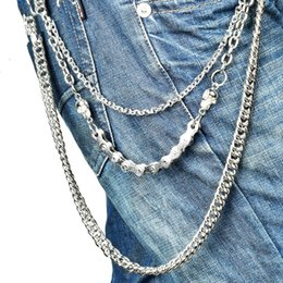 Wholesale plated pants for sale - Group buy Fashion Metal Skull Pants Chain Women Hip Hop Silver plated Pants Chain Multi layer fish mouth hook chain