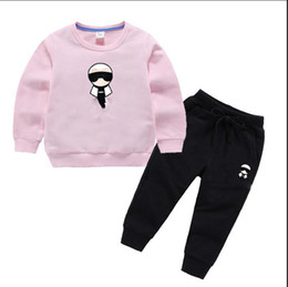 Wholesale 4t yellow hoodie resale online – 2020 Spring Autumn Children Toddler Baby Boys Girls Clothes Hoodies Pants set Outfit Infant Kids Casual Clothing Tracksuits