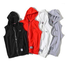 Wholesale sleeveless hoodies resale online - Plus Size Men s Casual Hip Hop Tank Top Fashion Embroidered Hooded Sweatshirts Solid Color Sports Sleeveless Hoodies Streetwear1