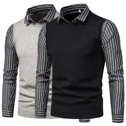 Wholesale twinset men resale online – New Autumn Oversize Sweater Men Turn down Collar Black Grey Casual Striped Twinset Spliced Sweatershirts Mens