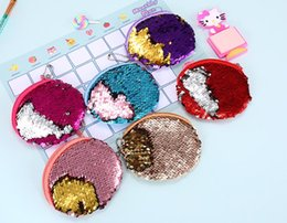 s key ring NZ - Cute Mermaid Sequin Coin Purse Mini Storage Bag Key Ring Purse With Zipper Round Plush Coin Bag For Women Girls Headphone Bag