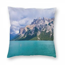 Wholesale stand up paddling online – design Nature Landscape Pillowcase Christmas Pillow Cover Stand Up Paddle In Christmas Printing For Bed Sofa Home Decorative PillowCover