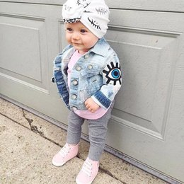 cute jeans shorts UK - Baby Girls Denim Jackets For Boys Jackets And Coats Children Jacket Spring Autumn Eyes Embroidery Jeans Coat Children Outerwear 201104