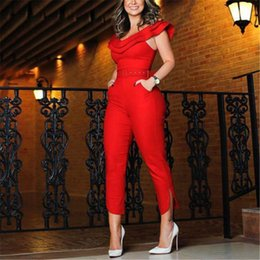 Wholesale jumpsuit formal resale online – New Women Formal Slim Solid Jmpsuits Ruffles Slash Neck Sashes Jumpsuit Elegant Ladies OL Playsuit Bodysuit Long Belt Trousers