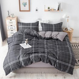 pink purple girls bedding 2020 - Classic Bedding Set Navy Grey Blue Grid Summer Bed Linen Stripe 4pcs Duvet Cover Pastoral Sheet AB Side Boys Girls Lover