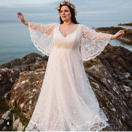 Wholesale black red flare plus size dresses resale online - Boho Beach Wedding Dresses Plus Size Long Flare Sleeves Sheer V Neck A Line Bridal Gowns Bohemian Spring Summer Custom Made