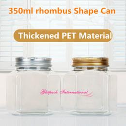 Wholesale ball honeys online – design 60pcs per carton empty PET plastic honey bottles ml Diamond rhombus clear jar g large ball jelly jars