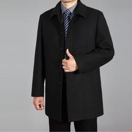 Wholesale 6xl men pea coats resale online - 2020 High Quality Men Wool Coat Autumn Winter Overcoat Wool Woolen Jacket Male Pea Coat Men Winter Long Coat Homme Plus Size XL