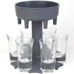 Wholesale Hot Selling 6 Shot Glass Dispenser Holder Wine Whisky Beer Dispenser Rack Bar Accessories Caddy Liquor Dispenser Party Games Drinking Tools