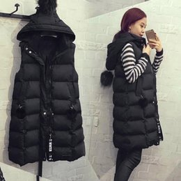 Wholesale long puffer vest resale online - Autumn Winter Cotton Vest Plus Size Hoodie Waistcoat Vest Gilet Casual Jacket Coat Outwear Sleeveless Long Puffer Coats1