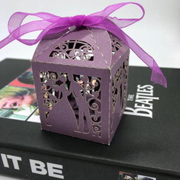 laser cut package Canada - Love Couple White purple Wedding Cookie Box Pearl Paper Laser cut Cake Box Gift Boxes for Packaging 50PCS