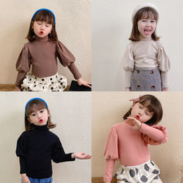 Discount fashion blank tees Little Kids Girls Tops Blank Puff Sleeve Designer Fashions Children Cute Tshirts Tops Pure Cotton Tees