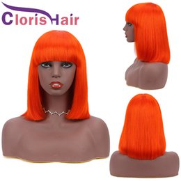 peruvian lace wigs 2021 - 150% Pixie Cut Human Hair Short Non Lace Front Wigs Pre-Colored Orange Peruvian Remy Straight Glueless Bob Wig With Bang