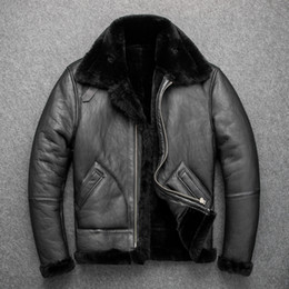 Wholesale men military style winter coat resale online – 2020 Black Men American Style Winter B3 Bomber Shearling Coat Real Thick Sheepskin Military Pilot Leather Jacket