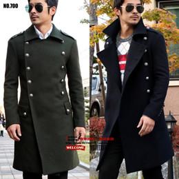 Wholesale woolen men s outerwear resale online - World War Ii Men Wool Overcoat Design Long Outerwear Vintage Slim Mens Fashion Woolen jackets male Plus Size Coat S XL