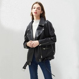 Fitaylor PU Faux Leather Jacket Loose Women Casual Sashes Biker Giacche Outwear Top Femminili cappotto del bomber BF Black Style