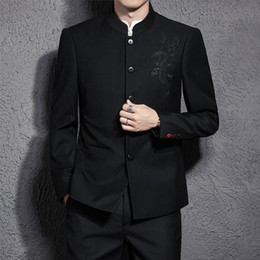 Wholesale men s mandarin collar suit resale online - Chinese Tunic Suits Mens Black Mandarin Collar Suits Men Chinese Yun Yat Sens Uniform Set Slim Fit Traje Novio Hombre