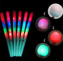 Wholesale 2021 New 28*1.75CM Colorful LED Light Stick Flash Glow Cotton Candy Stick Flashing Cone For Vocal Concerts Night Parties DHL shipping