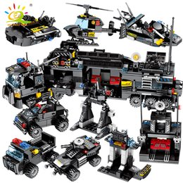 toys police truck Canada - HUIQIBAO 695PCS 8in1 SWAT Police Trucks Car Building Blocks City Helicopter Ship Bricks police Figures Children Toys