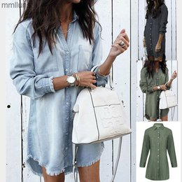 ingrosso camicie in denim delle donne-3033 camicia New Denim Women s Fashion Nappe