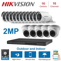 16 security system Canada - 2MP 16 Channels Hikvision DVR with 2MP 4 in 1 TVI   CVI, AHD   CVBS Camera Security Night Vision CCTV System Kits