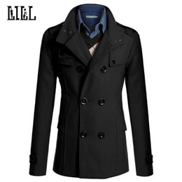 Wholesale men military style winter coat for sale – winter 4XL Mens Casual Double Breasted Wool Coat Men Military Style Peacoat Male Cashmere Trench Overcoat Mens Winter JacketUMA396