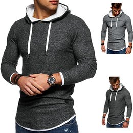 t shirts for men winter NZ - New Winter Autumn 2020 Patchwork Hem Arc Hoodies Sweatshirts For Men Long Sleeve Hooded T Shirt Tops Pullover