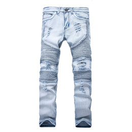черные разрушенные узкие джинсы  оптовых-Represent clothing designer pants slp blue black destroyed mens slim denim straight biker skinny jeans men ripped jeans