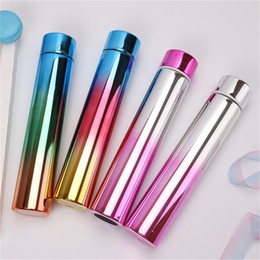 stainless steel tumbler holder UK - Steel 10oz Mini Gradient NEW Slim Skinny Tumbler With For Outdoor Rainbow Stainless Bottles Straight Cup Travel Lid A05 Vxtfe