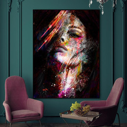 pop art painting portrait NZ - Graffiti Girls Portrait Pop Art Canvas Painting Modern Watercolor Abstract Wall Art Pictures Fashion Figure Poster Prints Home Decoration