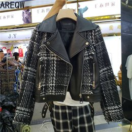 Wholesale female joker jacket resale online - New Autumn Tweed Stitching Pu Leather Jacket Women Streetwear Short Jackets Female Lapel Short Coat Joker Woolen Jacket Outwear