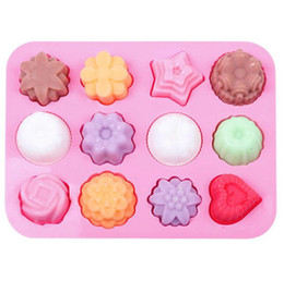 Discount make silicone molds Cake Baking Mould Silicone Soap Mold 3D Chocolate 12 hole Baking Tray Molds Candy Making Tool DIYJelly mold baking tools W111