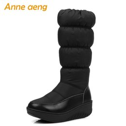 Neu Damen Keilabsatz Kniehohe Stiefel Versteckte Wadenlang Schwarz Schuhe Größe