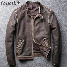 Wholesale sheepskins coats resale online - Tcyeek Winter Autumn Genuine Leather Jacket Men Streetweaar Real Sheepskin Coat Man Moto Biker Vintage Cow Leather Jackets