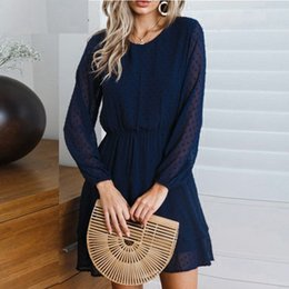 Wholesale sundresses for women for sale – plus size JAYCOSIN New Summer Women Dresses Sexy O Neck Solid Cascading Full Lantern Sleeve Casual Mini Sundress For Beach