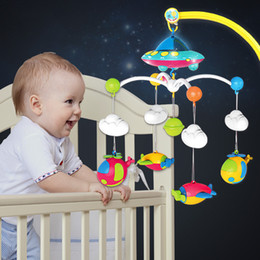 Discount plastic crib mobiles QWZ New Baby Crib Mobiles Rattles Toys Bed Bell Carousel For Cots Projection Infant Babies Toy 0-12 months For Newborns