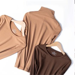 Wholesale Women Thermal underwear with Long seelve Crew neck for Winter,Black White Pink Khaki Coffee Grey