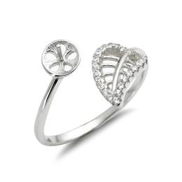 Leaf Ring Mounts 925 Sterling Silver Blanks Zircon Hollow Cut Leaf Design Pearl Inställningar 5 stycken