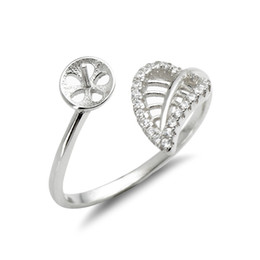 Leaf Ring Mounts Pearl Settings 925 Sterling Silver Blanks Zircon Hollow Cut Leaves Design 5 Pieces