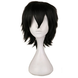 wig short white NZ - Black White Purple Red Short Hair Cosplay Wig Male Party 30 Cm High Temperature Fiber Synthetic Hair Wigs