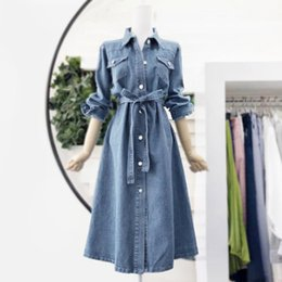 ingrosso camicie in denim delle donne-Vestito Denim Slim Denim Primavera e autunno New Fashion Women s Temperament Temperamento moda All Match Camicia Gonna in pizzo S