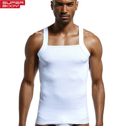 Wholesale elastic men undershirt resale online - Superbody Men s Cotton Solid Undershirt Men Slim High elastic Tanks Sleeveless Fitness Vest Tight Undershirts Mens Singlet