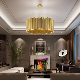 Discount led luminaire design 2020 EMS new Italy Design Gold Delightfull Brubeck Chandelier Aluminum Alloy Tube Suspension Luminaire Fashion Project Lamp