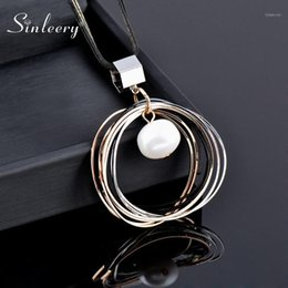 Discount baroque pearl long necklace SINLEERY Multilayer Circle Pendant Necklace With Baroque Pearl Dangle Black Long Chain Statement Jewelry For Women My296 SSF1