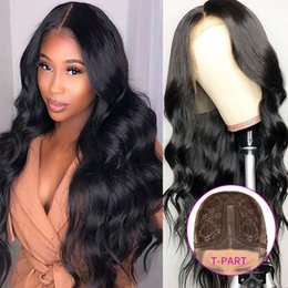 Discount cheveux human hair Body Wave Peruvian Remy Glueless Lace Front Wig 150% Unprocessed Human Hair Wavy Natural Wigs For Black Women perruques de cheveux humains