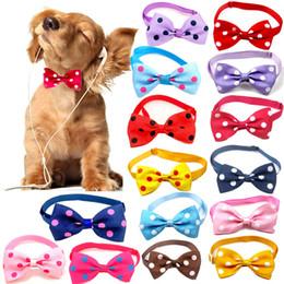 Wholesale 1 piece Adjustable Dog Cat bow tie polka dot neck tie pet dog bow tie puppy bows pet different colors supply Wholesale