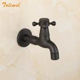 Discount black water hose Oil Rubbed Bronze ORB Black Long Wall Mount Bathroom Kitchen Laundry Basin Sink Faucet Tap Bibcocks Cold Water Only Hose