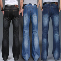 Wholesale loose cut jeans for sale - Group buy Jeans For Men Mens Modis Big Flared Jeans Boot Cut Leg Flared Loose Fit High Waist Male Designer Classic Denim
